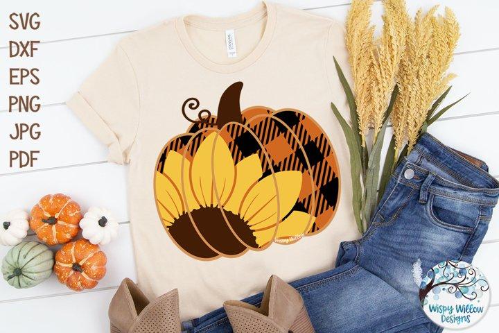 Sunflower Plaid Pumpkin SVG | Fall Pumpkin SVG Cut File