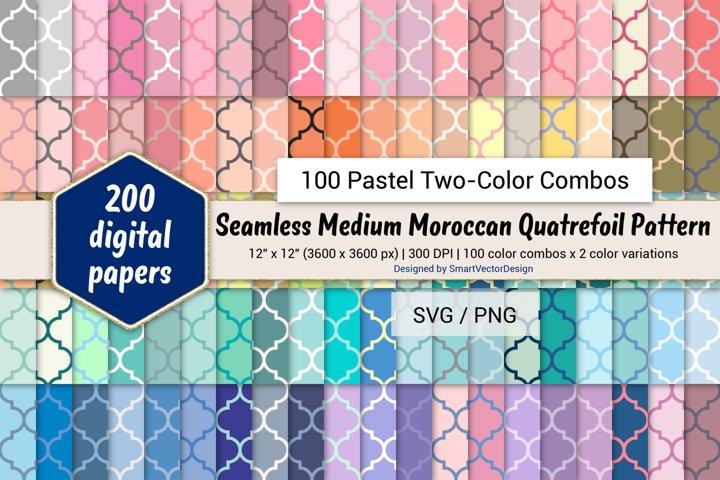 Seamless Moroccan Quatrefoil - 100 Pastel Two-Color Combos