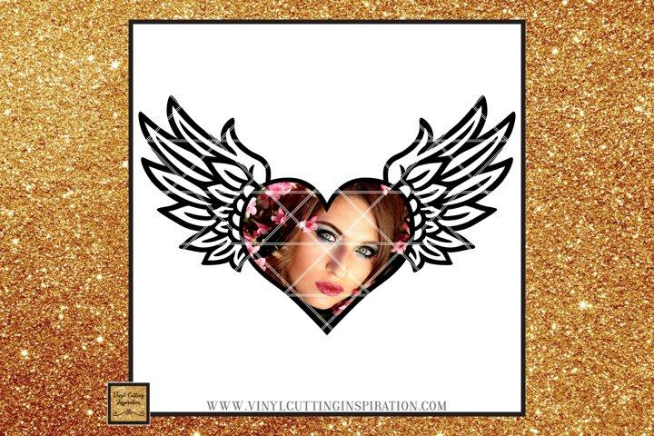 Angel Wings Svg Heart Svg In Loving Memory Sympathy svg dxf