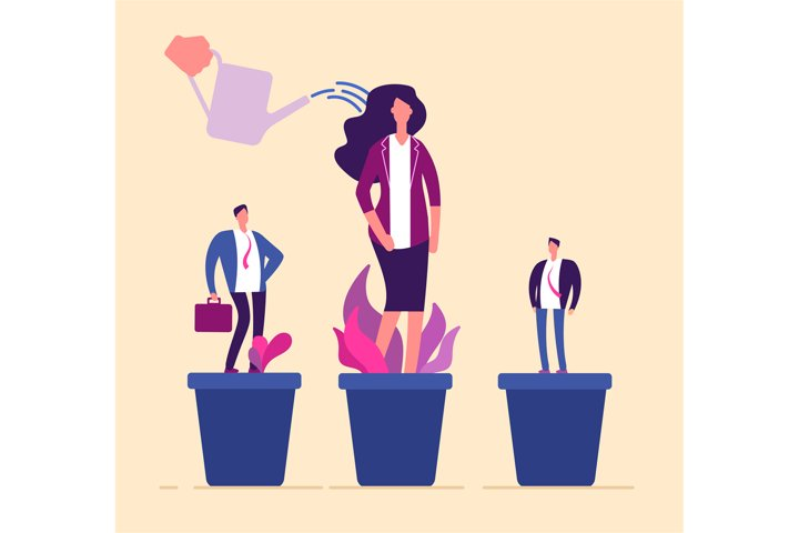 Employees growth. Business professional people in flowerpot