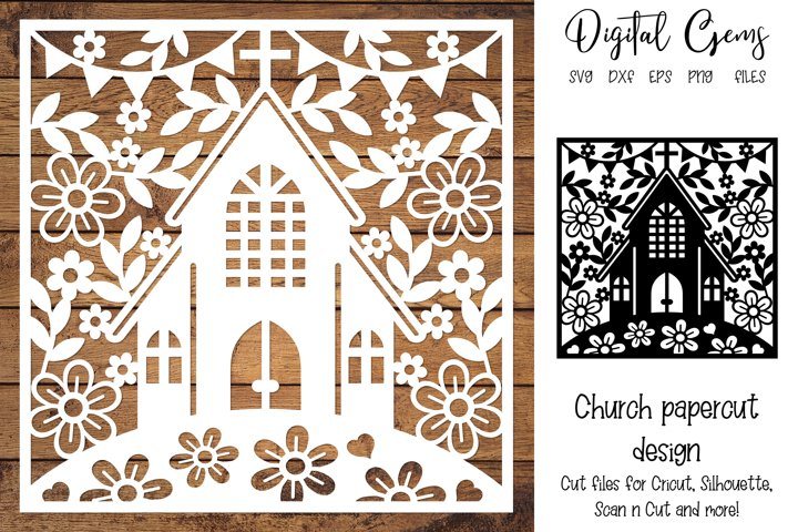 Church paper cut design SVG / DXF / EPS files