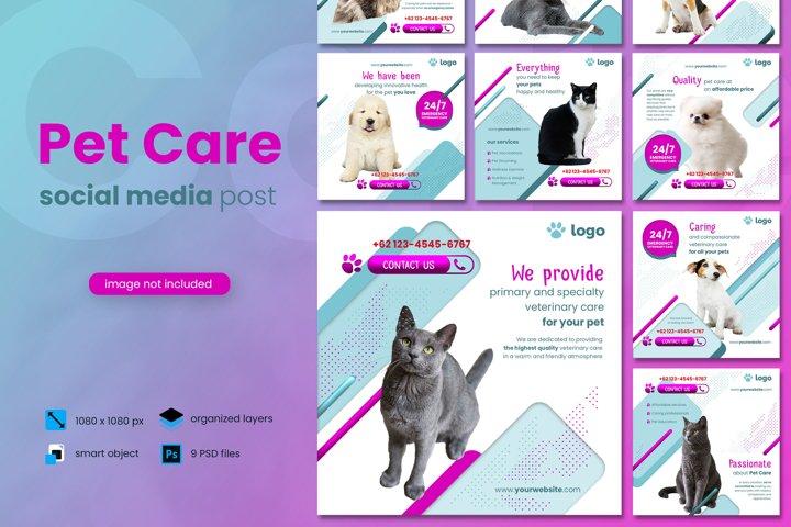 Pet Care Social Media Post template
