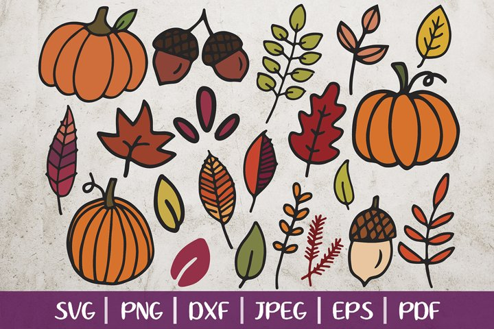Fall Clip Arts, Fall SVG Cut Files, Leaves and Pumpkins SVG example