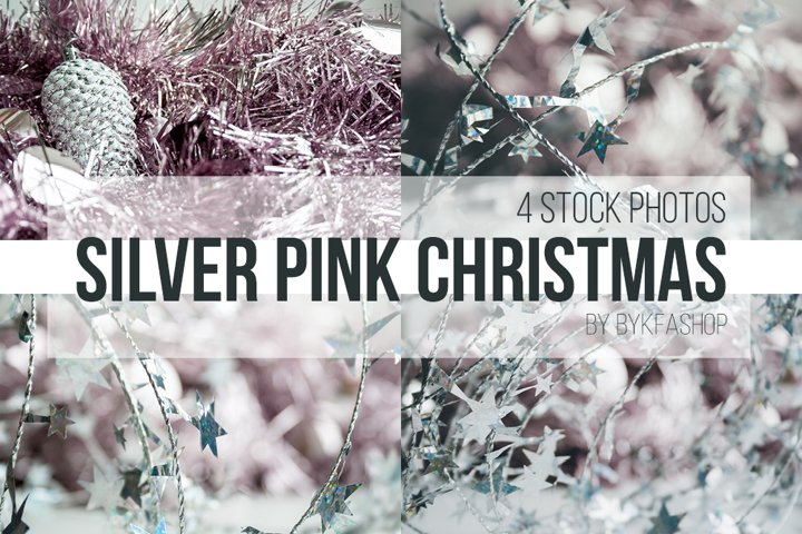 Silver, Pale Pink Christmas Backgrounds Photo Bundle