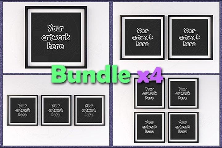 Mockup matted square frame BUNDLEx4