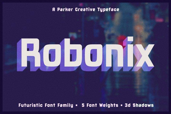 Robonix - Futuristic Shadow Font Family