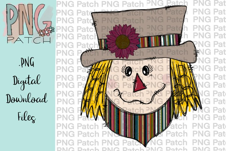 Scarecrow Girl Serape Print, Fall PNG File, Sublimation