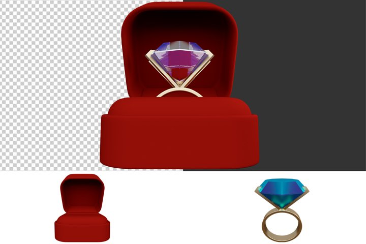 Ring in a red gift box with a transparent background