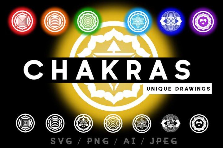 Chakras. Unique drawing. SVG/PNG/AI/JPEG