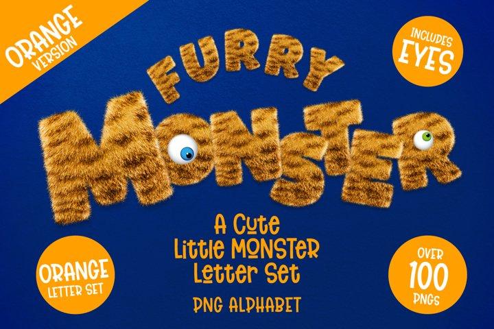 Furry Monster Alphabet - PNG Letter Set in Orange