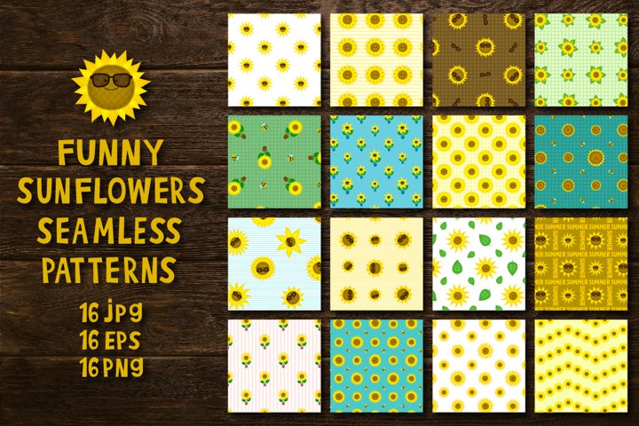 Funny suflowers seamless patterns
