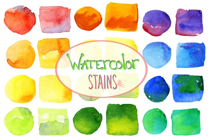 Vector bright watercolor stains example