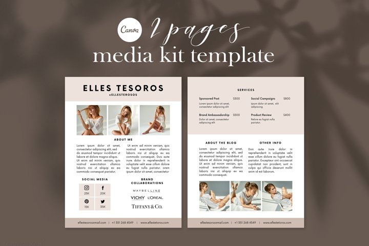 Media Kit Template, Blogger Media Press Kit Template, Canva