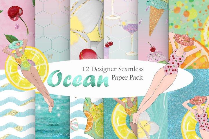 Summer Digital Papers, Holiday Seamless Pattern Ocean Pool