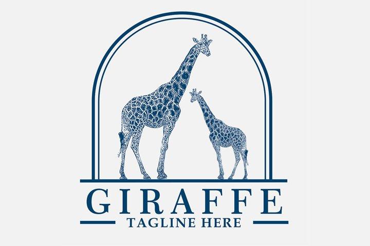 Awesome vintage logo for giraffe