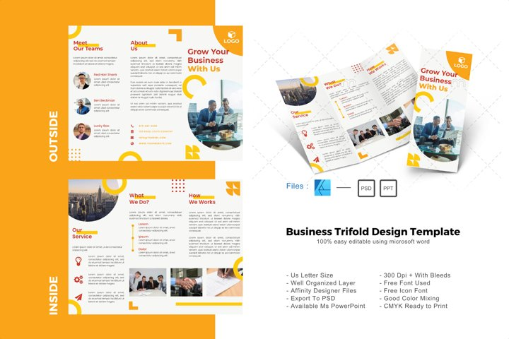 Yellow trifold brochure design template