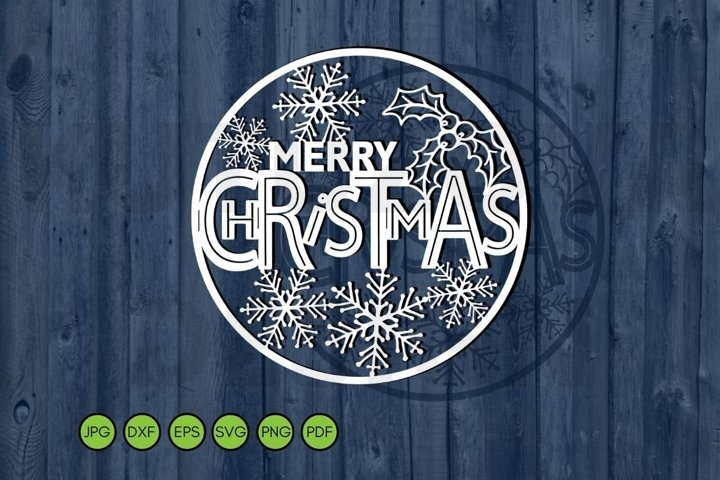 Christmas SVG. Merry Christmas round. Paper cutting file