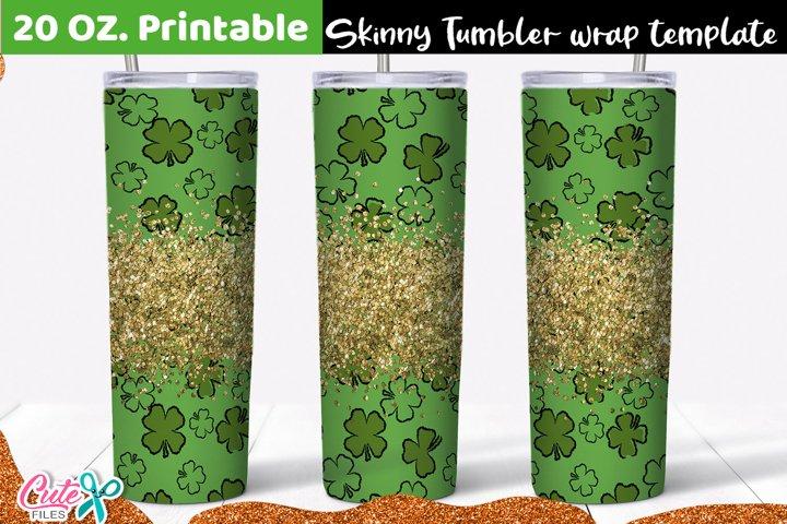 Clover and glitter St. Patricks day 20 Oz. Skinny Tumbler