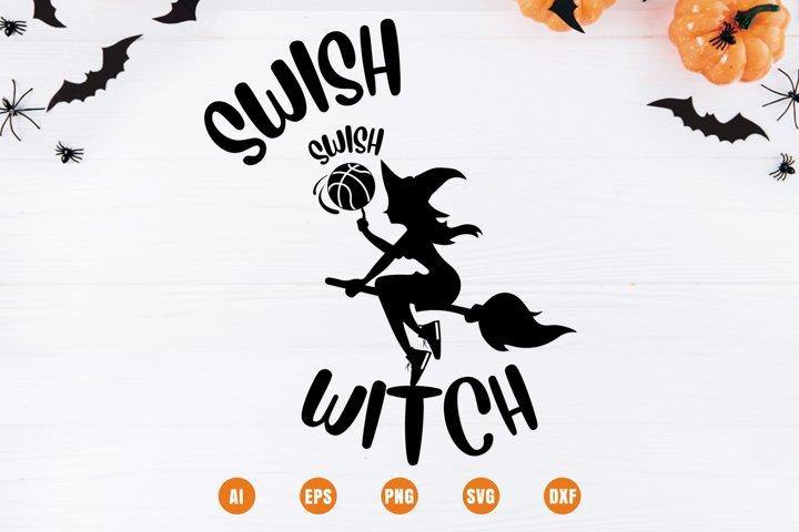 Swish Swish Witch - Basketball Halloween Design