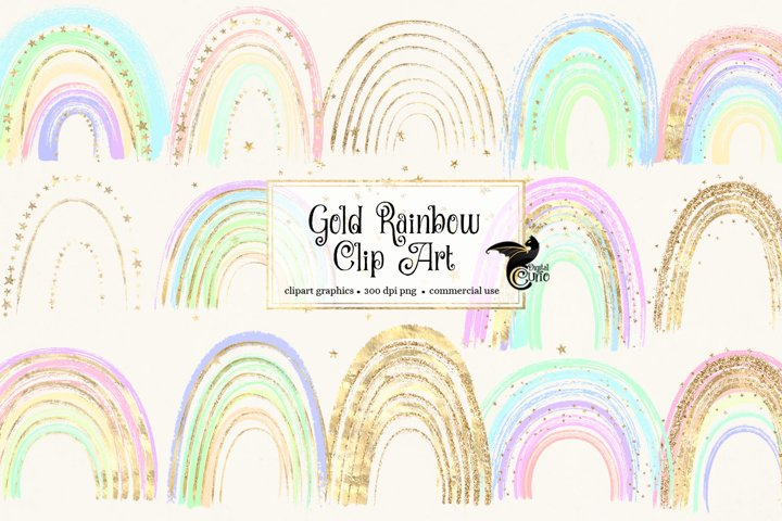 Gold Rainbows Clipart