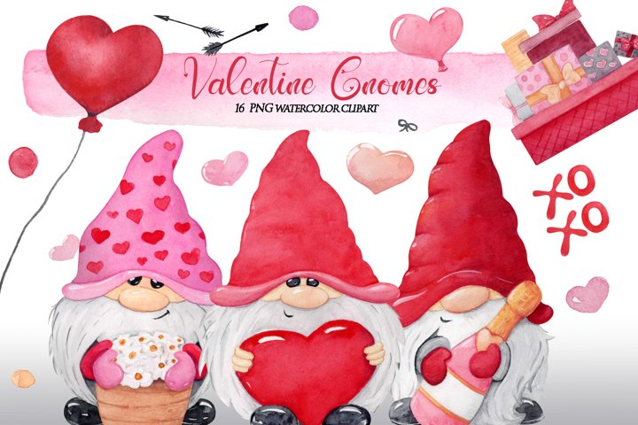 Valentines gnome png clipart, Watercolor Valentine clipart