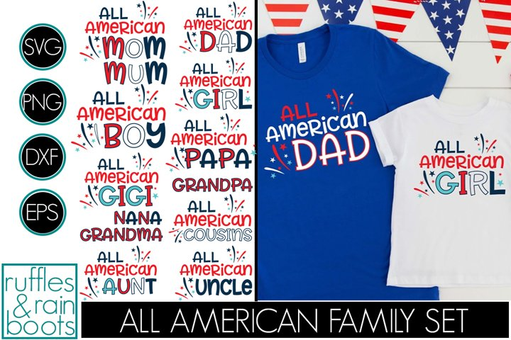 All American Family, Mom, Dad, Boy, Girl, 13 total SVG Files