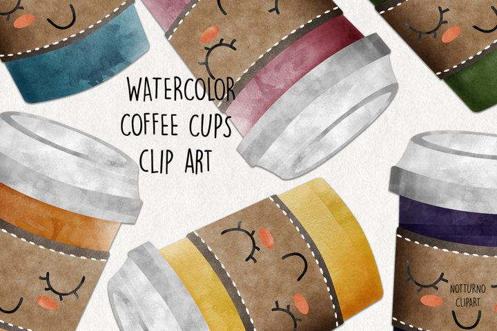 Watercolor Coffee Cups Clip Art. Coffee cup graphics