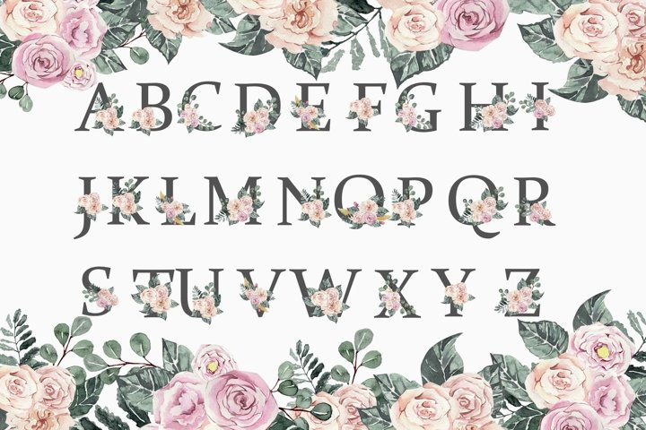 Beautiful festive alphabet with flowers png