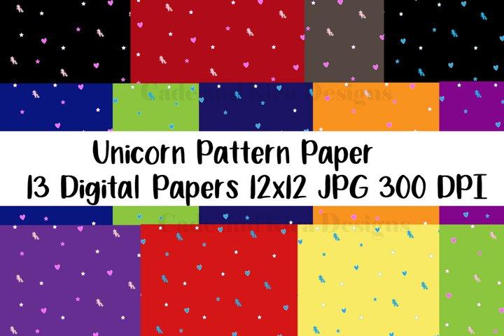 Unicorn Digital Paper Stars Hearts Cute Unicorn Patterns