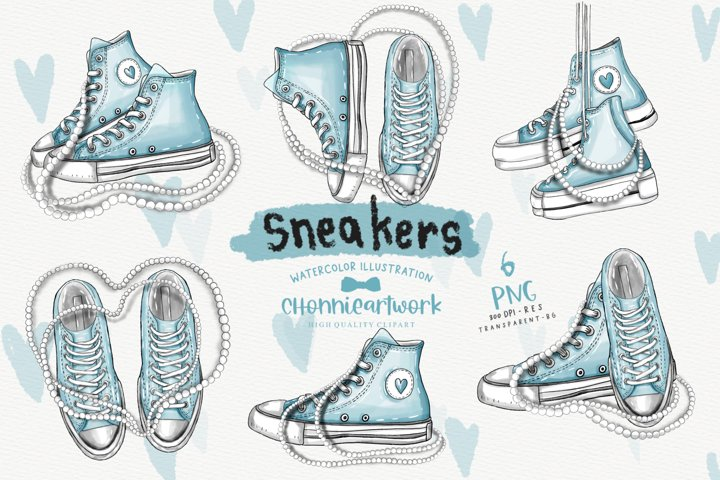Watercolor Sneakers and Pearls Clipart Bundle, Blue Sneakers