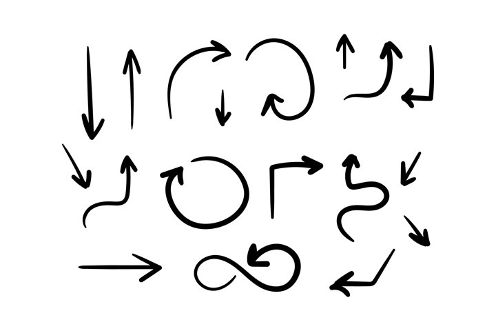 Set of black hand-drawn arrows