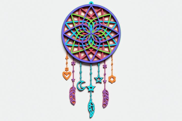 Dream Catcher Multilayer Mandala, Vector file for cutting