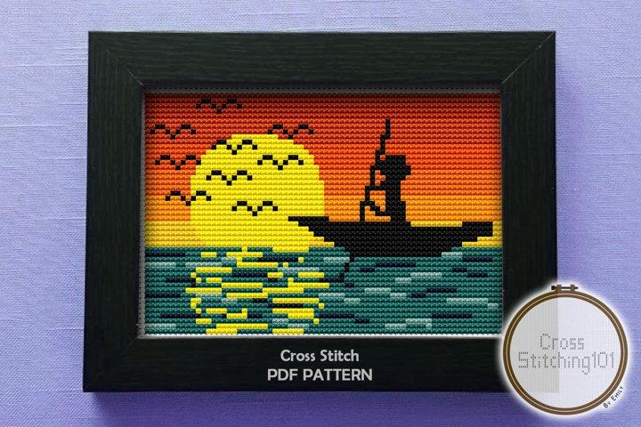 Fisher Man Cross Stitch Pattern - Instant Download PDF