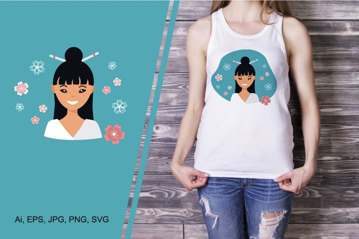 Sublimation design for t-shirts with cute young woman
