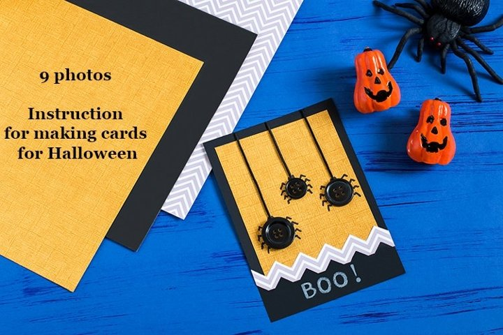 Child makes card with spiders for Halloween