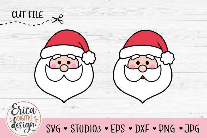 Santa Claus face SVG cutting Cute Santa Claus head Christmas