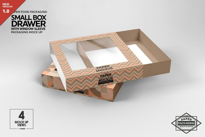 Small Box Drawer with Window Sleeve Packaging Mockup