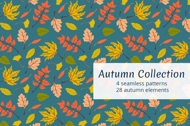 Autumn collection. Seamless patterns and elements