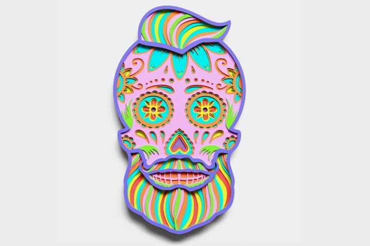 Multilayer Sugar Skull Mandala - S3, for cutting machines