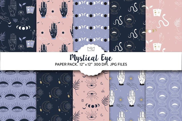 Mystical eye digital paper, mystical wrapping paper, mystic