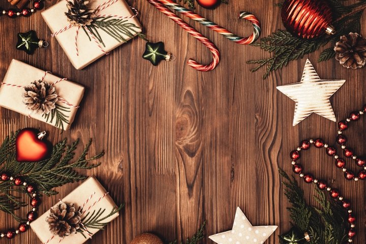 Christmas and New Year rustic traditional background