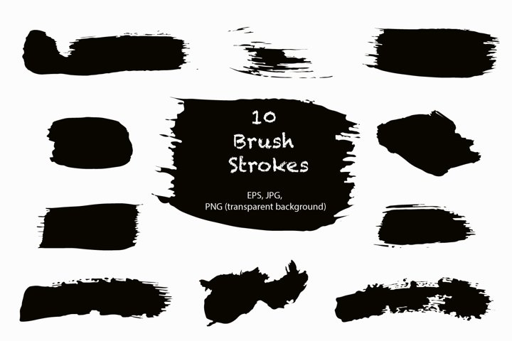 Grunge brush strokes clip art collection of 10 / EPS PNG JPG