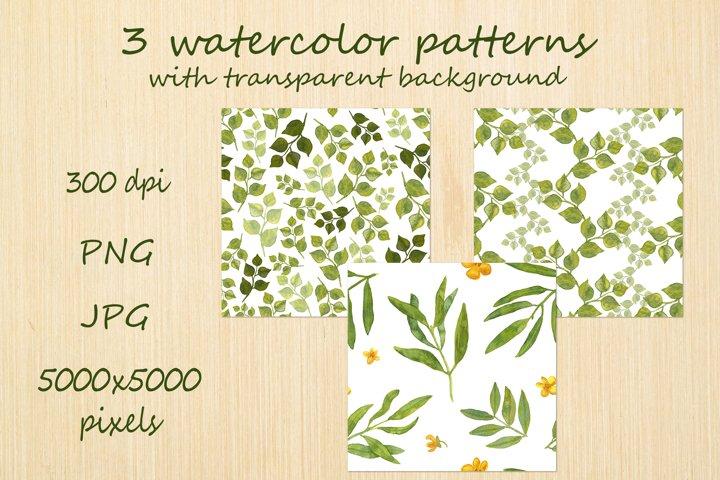 Watercolor greenery seamless pattern of leaves