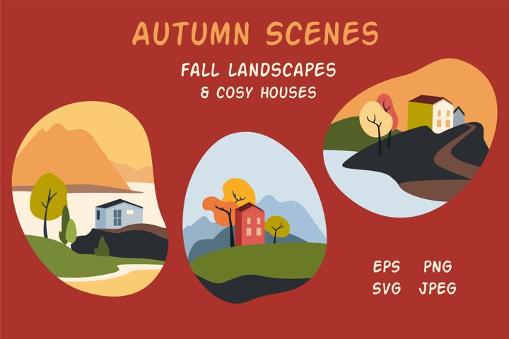 Fall scenes in a shape