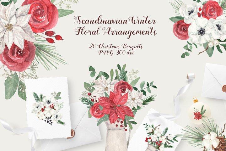 Scandinavian Winter Floral Arrangements. Christmas Bouquets