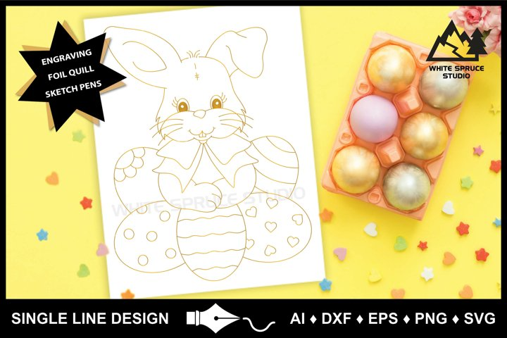 Single Line Design, Foil Quill, Engraving, Easter Bunny SVG