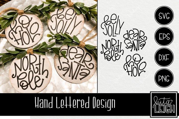 Hand Lettered Santa Christmas Rounds SVG