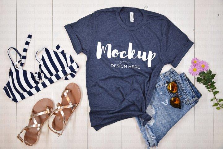 Navy Shirt Summer Mockup,T-Shirt Mockup Template, BC Mock up