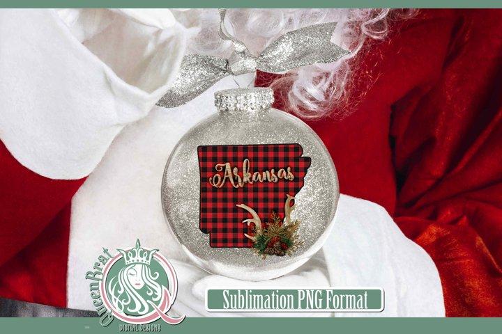 Sublimation   Arkansas Plaid Christmas State