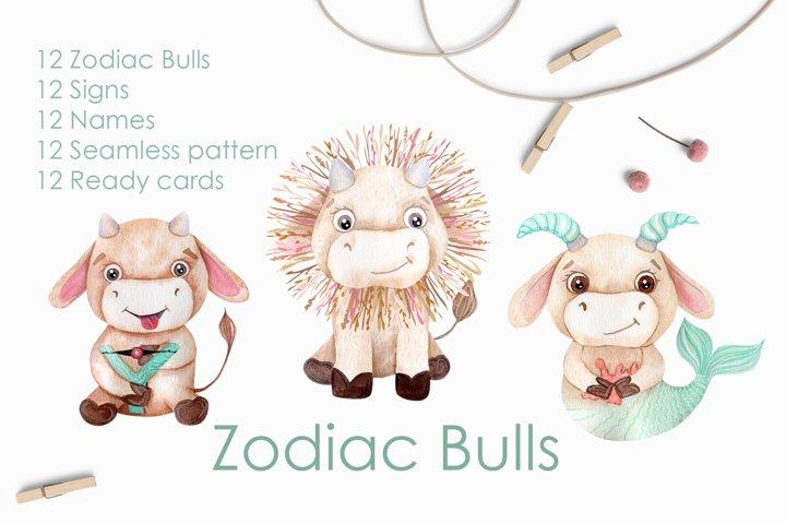 Watercolor Bulls Zodiac 2021 example